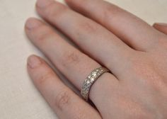 Gold Vineyard Diamond Wedding Ring 14kt Gold and by OliviaEwing