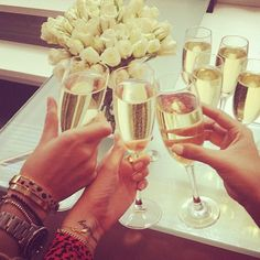 Champagne toast with the girls!