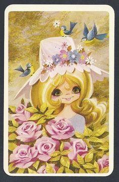 920 255 Blank Back Swap Card Near Mint JOY Girl IN Pink HAT With Roses | eBay