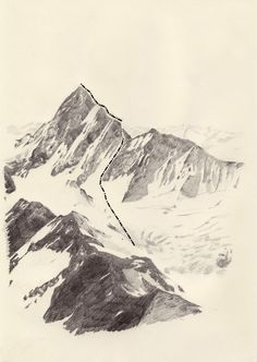 Kasper Pincis | The Magic Mountain 4 | pencil and letraset on paper | 2008