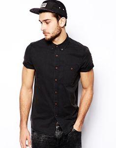 ASOS Twill Shirt In Short Sleeve With Acid Wash