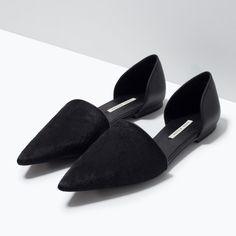 Leather Calfhair D'Orsay Flats - Zara