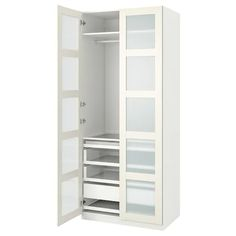"PAX / BERGSBO Wardrobe combination, white, frosted glass, 39 3/8x23 5/8x93 1/8"" - IKEA Pax Corner Wardrobe, Pax Wardrobe, Glass Wardrobe, Pax Planer, Pax System, Soft Closing Hinges, Glass Shelves In Bathroom, Design Interiors, 10 Years"