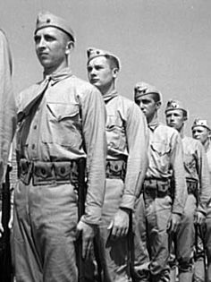 Marines in training at  Parris Island, SC, May 1942