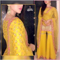 Stylish Sharara Dress Fabric details: Kurta- Brocade Banarasee With Gotta (SemiStitched Can be customised to xxl size) Sharara -Georgette With Inner Gotta (Stitched – Free Size) Dupatta – Net With Butta And Gotta Border Sarara Dress, Lehnga Dress, Sharara Suit, Gharara Pants, Anarkali Suits, Indian Wedding Outfits, Bridal Outfits, Indian Outfits, Sharara Designs