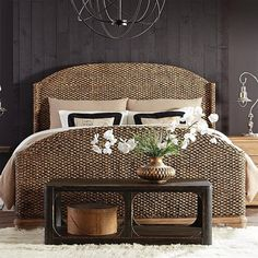 Looking for a way to turn your beach house bedroom into a more tasteful space? Forget white wicker furniture! This woven master bed is full of style and will look absolutely beautiful in any room.