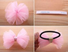 DIY Hair Accessories: DIY Make pink hair ties with bow