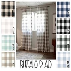 A traditional touch with modern flair. These Buffalo Check curtains come in the size you need to bring a charming look to your home. The classic plaid details will give your room the updated smile you Buffalo Plaid Curtains, Gingham Curtains, Buffalo Check Curtains, No Sew Curtains, Curtains Living, Panel Curtains, Curtain Panels, Yellow Curtains, Roman Curtains
