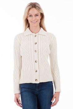 Tartan Aran Cardigan - Womens Aran Wool Cardigan - Made in Britain   Sweateronline - Fine British Knitwear - Made in Great Britain