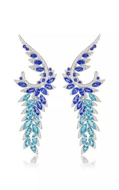 Tanzanite Magnipheasant Plumage Earrings by Stephen Webster for Preorder on Moda Operandi