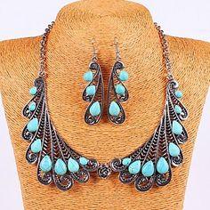 Vintage Angel Wings Turquoise Boucles d'oreilles et collier - EUR € 13.43