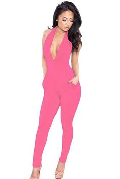 Weekend wear jumpsuit. Deep v-neck halter top pink. www.rosyweekend.com