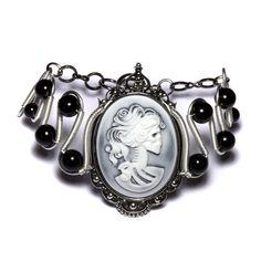 Steamgoth Bracelet - White on Hazy Black Skeleton Lady portrait Cameo - Black and Silver Tone
