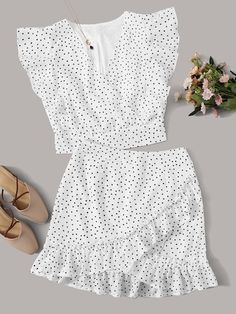 To find out about the Surplice Polka Dot Ruffle Cuff Top With Skirt at SHEIN, part of our latest Two-piece Outfits ready to shop online today! Girls Fashion Clothes, Teen Fashion Outfits, Girl Fashion, Clothes For Women, Cute Casual Outfits, Summer Outfits, Cute Dresses, Girls Dresses, Look Boho Chic