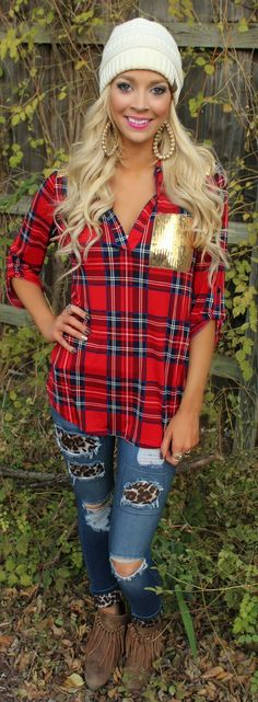 Red Plaid and Gold Sequin Tunic - The Lace Cactus Enter code ASHLEYH10 at checkout for 10% off