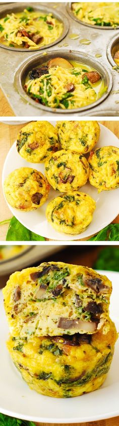 Breakfast Egg Muffins with Mushrooms and Spinach – these crustless mini quiches are perfect for breakfast, brunch, or potluck! Packed with protein, fiber, and veggies. Vegetarian, gluten free recipe.