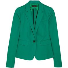 Joseph Watch Short stretch-cotton blazer ($234) ❤ liked on Polyvore featuring outerwear, jackets, blazers, coats & jackets, tops, jade, slim blazer, slim fit jackets, tailored blazer and slim blazer jacket