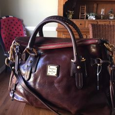 "Florentine Leather Stanwich Satchel Gorgeous chestnut adjustable and detachable shoulder strap double handle, side tassels four bottom feet lined interior two front wall pockets back wall zip and slip pocket 15.5"" W x 11"" H x 8 "" D  24.5"" strap drop  4.5"" handle drop Dooney & Bourke Bags Satchels"