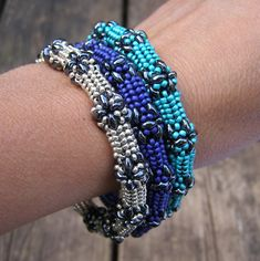 Superduo Bangle, a bangle made with superduo beads and seed beads. ($)