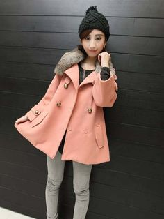 Rabbit fabric Double-breasted outerwear