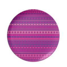 #Purple and Pink Stripy Stars and Spots Pattern #Dinner Plates $28.10