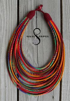 HAPPY HOLI 8 yarn-wrapped necklace / tribal / hippie by MARISCAPES