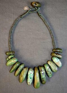 by Miranda Crimp    Necklace made from 16th century African amazonite   POR