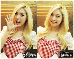 Alice (Hello Venus) with her long simple style, and a very vividly blonde color (considering she is full korean).
