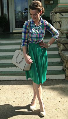 Plaid button down with a pleated skirt: modest, feminine and colorful!