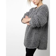 Wool and the Gang Wonderwool Sweater (Free) - Tricot 02 Chunky Knitting Patterns, Knitting Designs, Knit Patterns, Sweater Patterns, Knitting Tutorials, Stitch Patterns, Loom Knitting, Hand Knitting, Chunky Wool