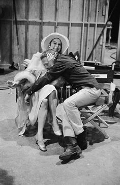 Ava Gardner and Paul Newman on the set of The Life and Times of Judge Roy Bean 1972