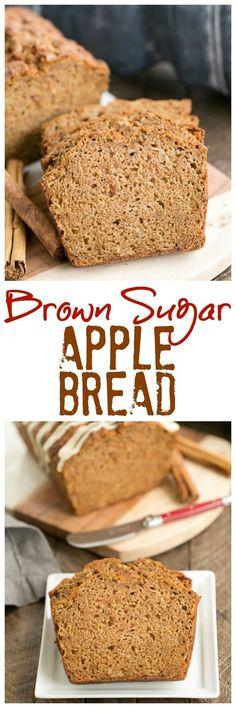 Brown Sugar Apple Bread Recipe | Moist, tender apple quick bread with a drizzle of vanilla icing @lizzydo