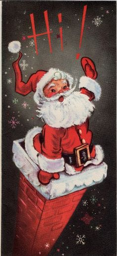 LOOK INSIDE Santa Claus Chimney Fireplace Stocking VTG Christmas Greeting Card