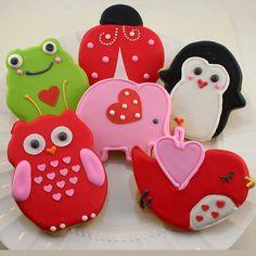 Totally Adorable Valentine Cookie Gift Assortment - 'Animal Love' Owl, Frog, Elephant, Ladybug, Bird, Penguin (12 cookies)