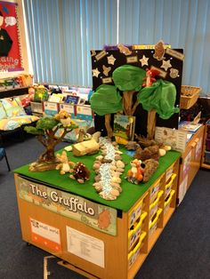 The Gruffalo small world/ role play. Picture books in classroom environment Preschool Literacy, Literacy Activities, In Kindergarten, Tuff Spot, Eyfs Classroom, Classroom Displays, Physics Classroom, Reggio Emilia, Gruffalo Activities