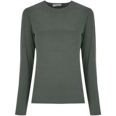 Egrey long sleeves T-shirt ($195) ❤ liked on Polyvore featuring tops, t-shirts, green, longsleeve tee, green t shirt, long sleeve round neck t shirt, longsleeve t shirts and long sleeve tees