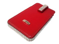 Red patent leather Deluxe mobile phone cover from Cango & Rinaldi is decorated with bright and beautiful Swarovski crystals.