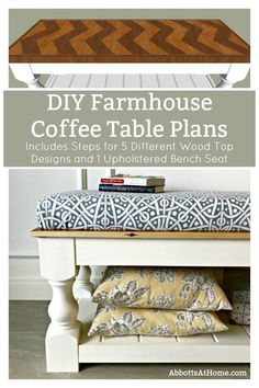 Plans de table basse de ferme bricolage The printable build plans for my popular Modern Farmhouse Bench are now available. Includes 5 beautiful wood top options to turn it into a pretty Farmhouse coffee table instead. The Chevron Top Design is my favorite Small Furniture, Furniture Plans, Home Furniture, Business Furniture, Furniture Market, Outdoor Furniture, Bathroom Furniture, Office Furniture, Upholstered Bench Seat