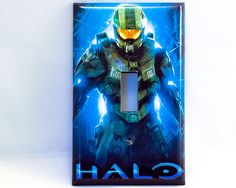 Halo 4 Master Chief single light switch cover wall plate children gamer boys video game tv room man cave garage art decoration 1 2 3 5