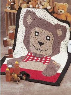 Teddy Bear Afghan crochet instructions ... notes to me: takes about 72 oz at about one dollar an oz or seventy two dollars to make -- see my crafts documents