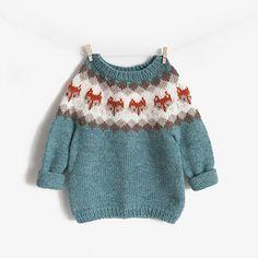 Ravelry: Fox Baby Yoke Sweater pattern by EweKnit Toronto Kids Knitting Patterns, Baby Sweater Patterns, Baby Clothes Patterns, Knitting Kits, Knitting For Kids, Baby Sweater Knitting Pattern, Crochet Pattern, Fox Sweater, Knit Baby Sweaters
