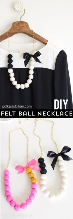 DIY Felt Ball Statement Necklace tutorial on polkadotchair.com - cute gift idea