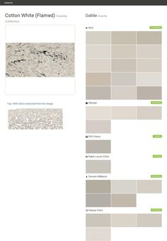 Cotton White (Flamed). Granite Collection. Granite. Daltile. Behr. Olympic. PPG Paints. Ralph Lauren Paint. Sherwin Williams. Valspar Paint.  Click the gray Visit button to see the matching paint names.