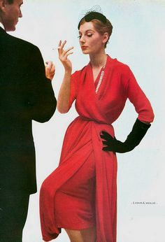 1952 Fiona Campbell-Walter in red silk-crepe cocktail dress by Lanvin-Castillo, photo by Richard Dormer, Paris Vogue