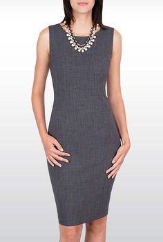Grey Dress - With silver and pearls. Grey Fashion, Fashion Wear, Work Fashion, Fashion Outfits, Work Attire Women, Work Dresses For Women, Clothes For Women, Proper Attire, Mod Dress
