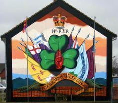 36th Ulster Division Mural  Carrickfergus .... 14th Batt Royal Irish Rifles [YCVs] Belfast Murals, Rifles, Northern Ireland, Division, Wall Murals, Irish, The Past, Painting, Art