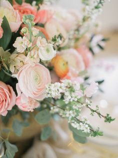 Ranunculus arrangements: http://www.stylemepretty.com/canada-weddings/british-columbia/vancouver/2015/05/18/vintage-blush-wedding-inspiration/ | Photography: ARTIESE - http://www.artiesestudios.com/
