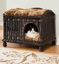 Comfort for Your Pet With Your Home's Decor Such a cute cat bed that could also work as a bench. Beware of cat attacks when you sit down!Such a cute cat bed that could also work as a bench. Beware of cat attacks when you sit down! Cool Cat Beds, Gatos Cool, Pet Furniture, Wicker Furniture, Cat Accessories, Hamsters, Cool Pets, Dog Houses, Pet Beds