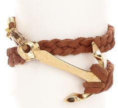 Anchor Braided Leather Bracelet