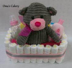 Grey Bear Diaper Basket